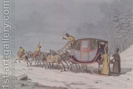 Horse and carriage on Sledges from Customs and Habits of the Russians by Armand Gustave Houbigant - Reproduction Oil Painting