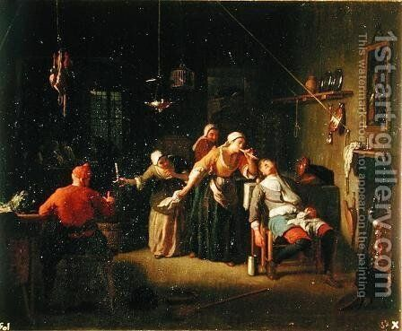 Tavern scene by Michel-Ange Houasse - Reproduction Oil Painting