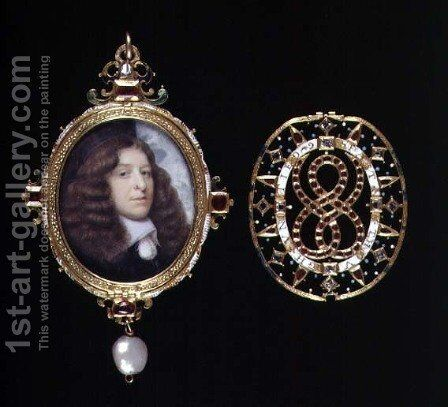 Miniature of an unknown man in a gold and jewelled frame and cover by (attr. to) Hoskins, John - Reproduction Oil Painting