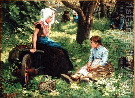 Two Girls in a Raspberry Patch by Hendrik Horrix - Reproduction Oil Painting