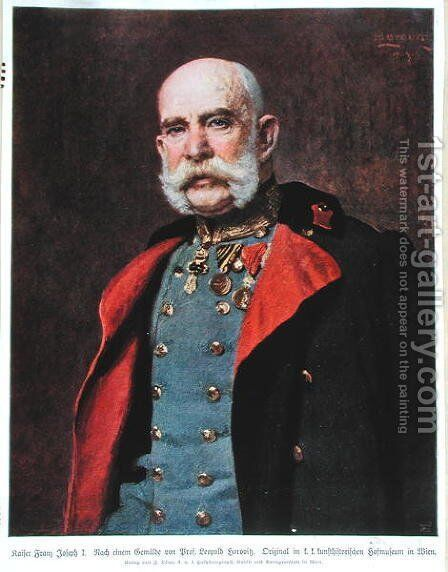 Portrait of Kaiser Franz Joseph I 1830-1916 by (after) Horovitz, Leopold Stephan - Reproduction Oil Painting