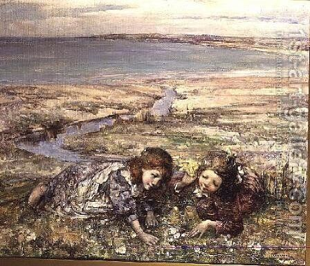 Two Girls on a Beach by Edward Atkinson Hornel - Reproduction Oil Painting