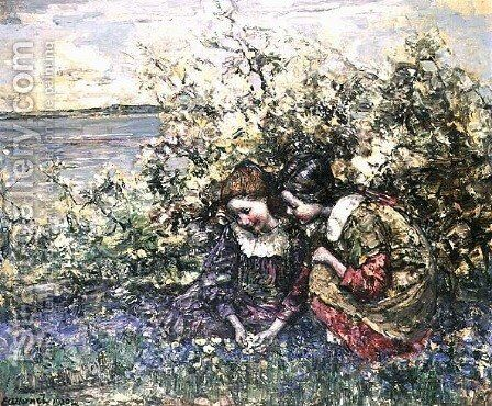 Bluebells and Primroses by Edward Atkinson Hornel - Reproduction Oil Painting