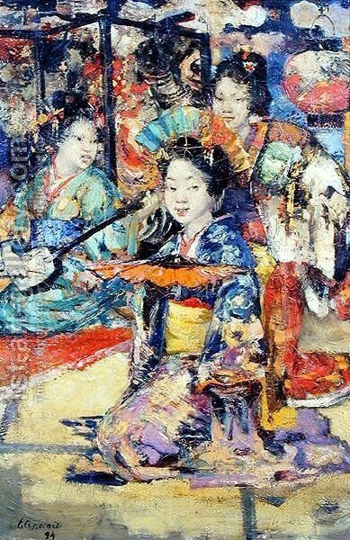 Geisha Girls by Edward Atkinson Hornel - Reproduction Oil Painting