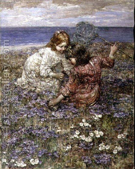 After the Butterfly Chase by Edward Atkinson Hornel - Reproduction Oil Painting
