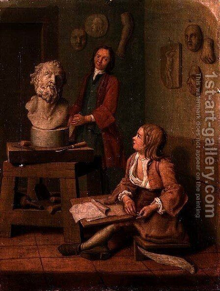 A Sculptors Studio by Jan Jozef, the Younger Horemans - Reproduction Oil Painting