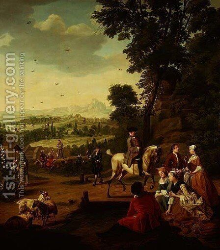 An elegant hawking party resting in a park by Jan Jozef, the Younger Horemans - Reproduction Oil Painting