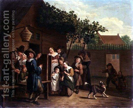 Children Watching a Peep Show in a Village Courtyard by Jan Jozef, the Younger Horemans - Reproduction Oil Painting