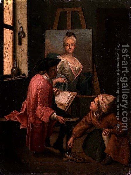 A Painters Studio by Jan Jozef, the Younger Horemans - Reproduction Oil Painting