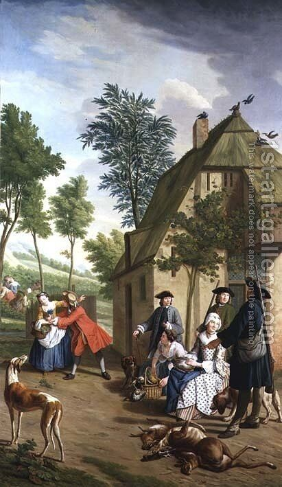 Figures in a Landscape 2 by Jan Jozef, the Younger Horemans - Reproduction Oil Painting
