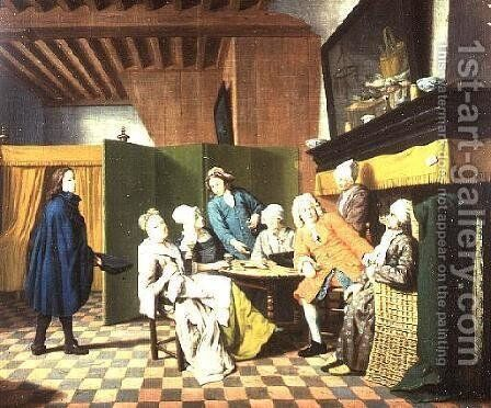 The Doctors Visits  A Dutch Proverb The Doctor Inspects the General Health of His Patient by Jan Josef, the Elder Horemans - Reproduction Oil Painting
