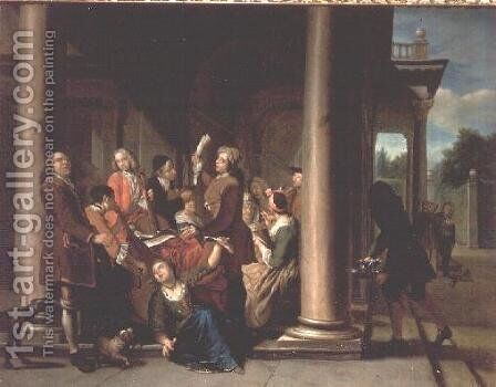 Figures Singing on a Terrace by Jan Josef, the Elder Horemans - Reproduction Oil Painting
