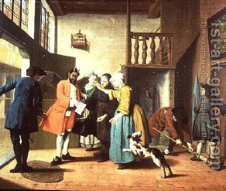 The Doctors Visits  A Dutch Proverb The Doctor is Depicted as the Devil When Returning to the House to Present his Bill by Jan Josef, the Elder Horemans - Reproduction Oil Painting