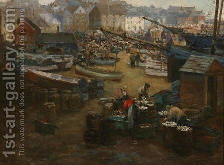 Packing Fish St Ives by Gwendoline Margaret Hopton - Reproduction Oil Painting