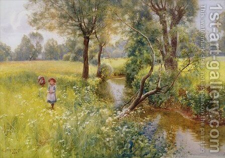 Picking summer flowers by the stream by Charles W. Hopper - Reproduction Oil Painting