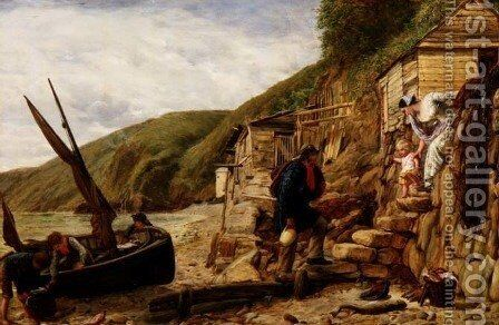 Welcome Bonny Boat The Fishermans Return scene at Clovelly North Devon by James Clarke Hook - Reproduction Oil Painting
