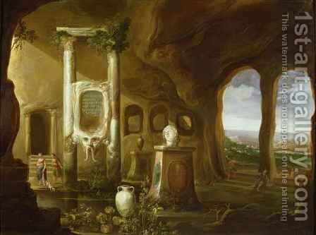 A monument to Augustus in a grotto with figures by Charles-Cornelisz de Hooch - Reproduction Oil Painting