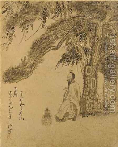 Preparing the Elixir beneath a Pine Qing dynasy by Chen Hongshou - Reproduction Oil Painting