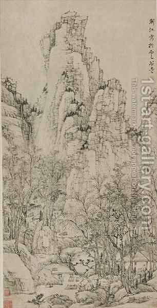 Cloudy Valley Retreat in the Yellow Mountains Qing dynasty by Hongren - Reproduction Oil Painting
