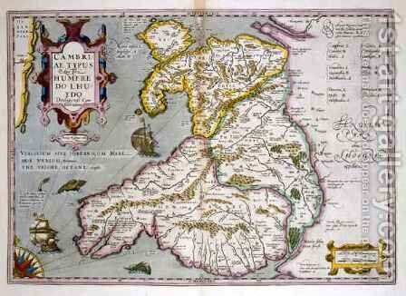 Map of Wales by Jodocus Hondius - Reproduction Oil Painting