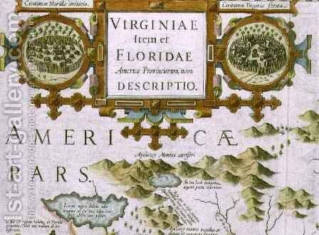 Title cartouche and insets detail of the map of North Carolina titled Virginiae item et Floridae from the Mercator Atlas by Jodocus Hondius - Reproduction Oil Painting