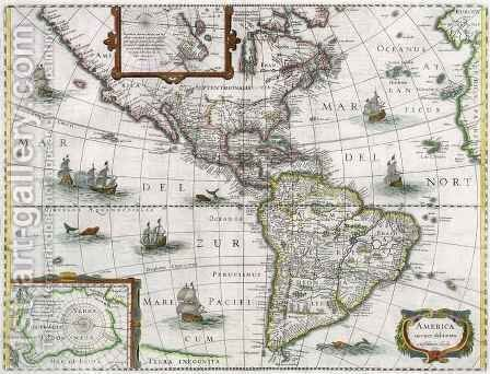 Map of the Americas by Henricus Hondius - Reproduction Oil Painting