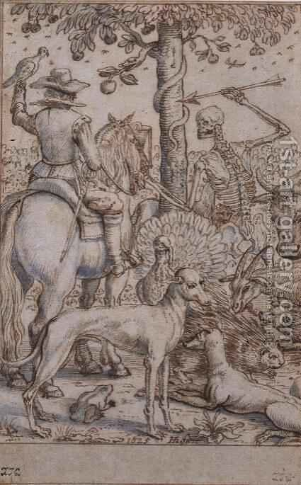 Death and the Huntsman by Hendrik I Hondius - Reproduction Oil Painting