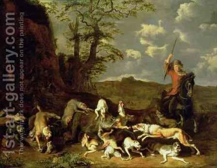 A Bear Hunt by Abraham Danielsz Hondius - Reproduction Oil Painting