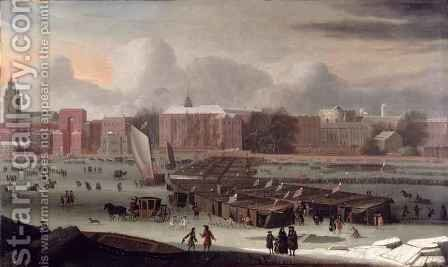 Frost Fair on the Thames by Abraham Danielsz Hondius - Reproduction Oil Painting