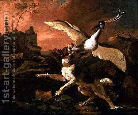 A Spaniel Attacking a Heron by Abraham Danielsz Hondius - Reproduction Oil Painting