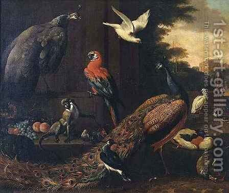 Birds in a landscape by (attr. to) Hondecoeter, Melchior de - Reproduction Oil Painting
