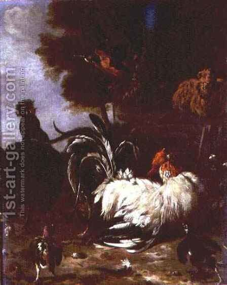 Cockerel and other poultry in wooded landscape by (attr. to) Hondecoeter, Melchior de - Reproduction Oil Painting