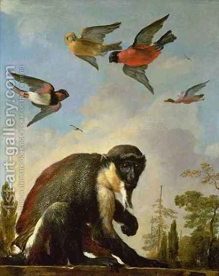 Chained monkey in a landscape by Melchior de Hondecoeter - Reproduction Oil Painting