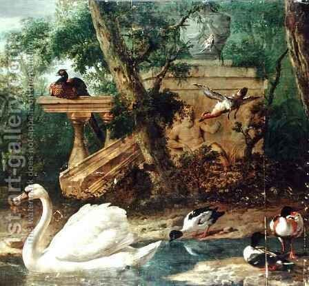 Birds in a Garden by Melchior de Hondecoeter - Reproduction Oil Painting