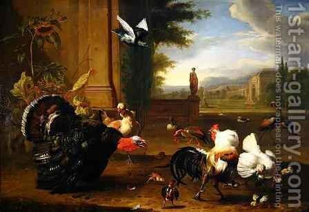 A Turkey Cock and Cockerel and other exotic fowl in a park setting by Melchior de Hondecoeter - Reproduction Oil Painting