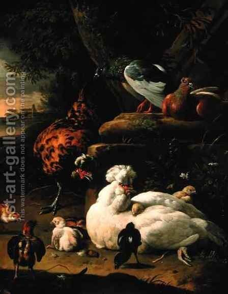 A hen with chicks a rooster and pigeons in a landscape by Melchior de Hondecoeter - Reproduction Oil Painting