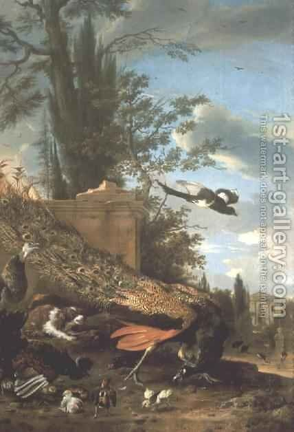 A Peacock and a Spaniel in the Garden of a Villa by Melchior de Hondecoeter - Reproduction Oil Painting