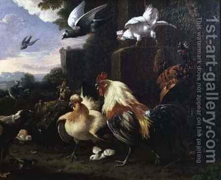 A cockerel and other fowl in a landscape by Melchior de Hondecoeter - Reproduction Oil Painting