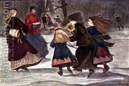Skating in Winter by (after) Homer, Winslow - Reproduction Oil Painting