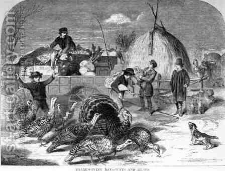 Thanksgiving Day Ways and Means from Harpers Weekly by (after) Homer, Winslow - Reproduction Oil Painting