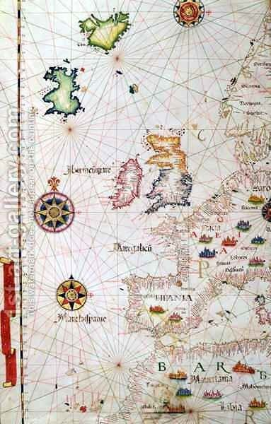 The British Isles Iberia and Northwest Africa by Diego Homem - Reproduction Oil Painting