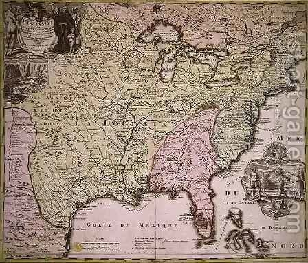 Map Of Louisiana And Mississippi Painting By Johann Baptist Homann