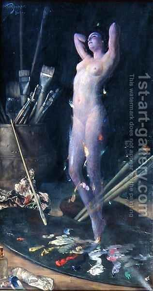In the Studio Artists Vision by Hans Holtzbecher - Reproduction Oil Painting