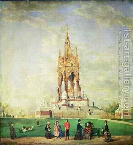 The Albert Memorial in London by Edwin Frederick Holt - Reproduction Oil Painting