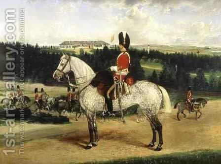 A Squadron Sergeant Major a Kettle Drummer and a Detachment of Scots Greys by Edwin Frederick Holt - Reproduction Oil Painting