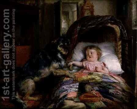 Guarding baby by Edwin Frederick Holt - Reproduction Oil Painting