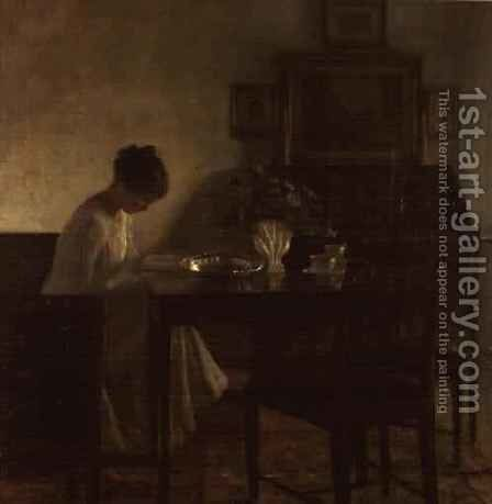 Girl reading in an interior by Carl Vilhelm Holsoe - Reproduction Oil Painting