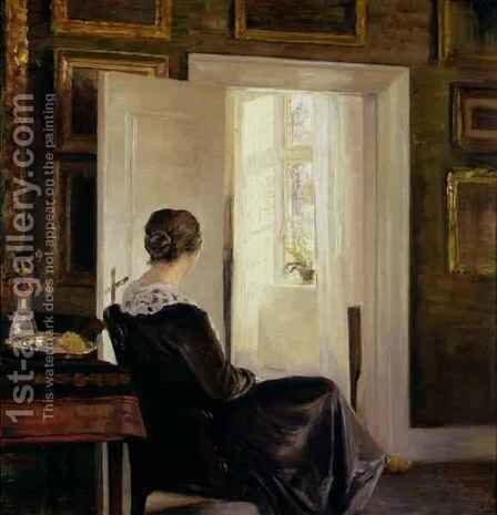 A woman seated near a door by Carl Vilhelm Holsoe - Reproduction Oil Painting