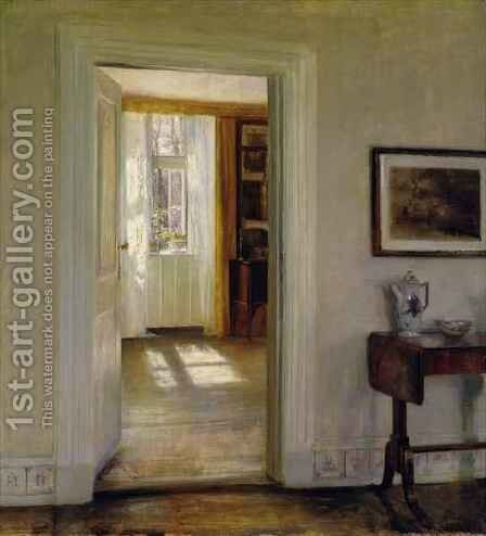 Interior with Garden by Carl Vilhelm Holsoe - Reproduction Oil Painting