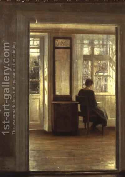 A Lady in an Interior by Carl Vilhelm Holsoe - Reproduction Oil Painting